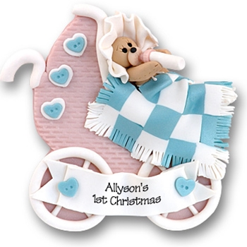 Baby Bear in Pink Buggy<br>Personalized<br>Baby Ornament