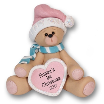 Baby's First Christmas - Bear w/Heart - Personalized Ornament