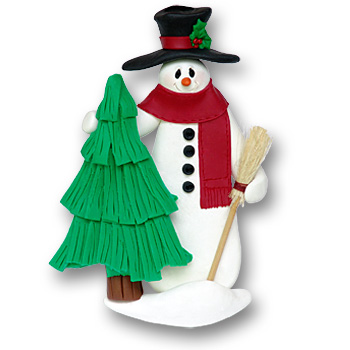 Snowman w/Tree & Broom<br>Personalized Ornament