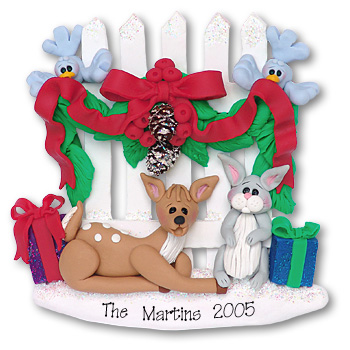 Picket Fence<br>w/Deer & Rabbit<br>Personalized Ornament