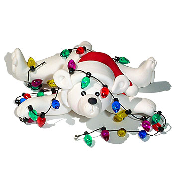 Polar Bear w/Lights<br>Personalized Christmas Ornament