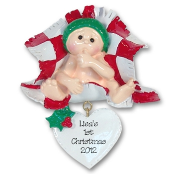 Baby in Red Blanket<br>Personalized<br>Baby Ornament