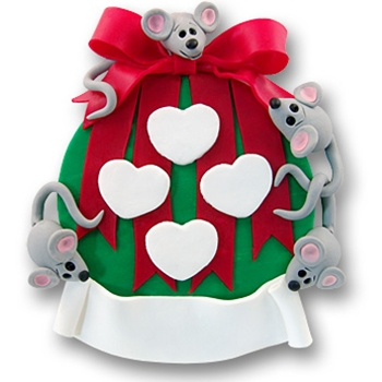 Ornament w/4 Mice<br>Personalized Family Ornament