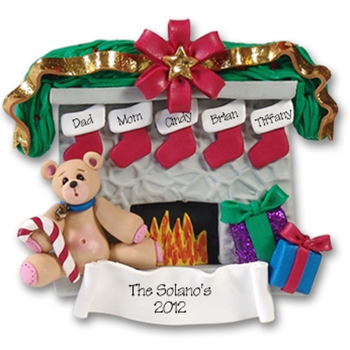 Fireplace w/Bear & 5 Stockings<br>Personalized Family Ornament