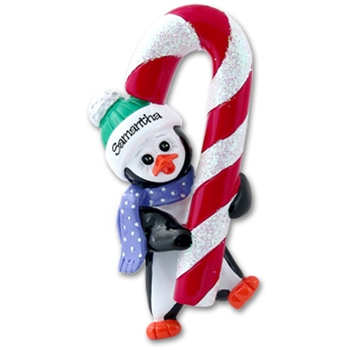 RESIN Petey Penguin<br>w/Candy Cane<br>Personalized Ornament