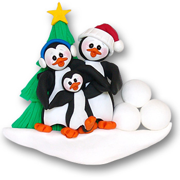Petey & Polly Penguin<br>Personalized Family<br>Ornament of 3