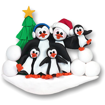 Petey & Polly Penguin<br>Personalized Family<br>Ornament of 5
