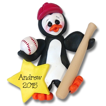 Baseball Petey Penguin<br>Personalized Ornament