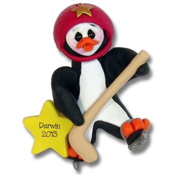 Hockey Petey Penguin<br>Personalized Ornament