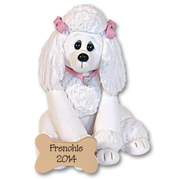 &quot;Frenchie&quot; White Poodle<br>Dog Ornament