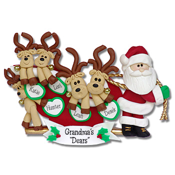 5 Reindeer in Sled<br>Personalized Family Ornament