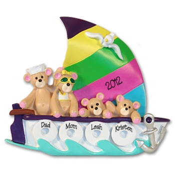 Sailboat w/4 Bears<br>Personalized Family Ornament<br>RESIN