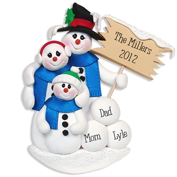 Snowman Family of 3<br>Personalized Family Ornament