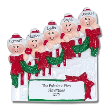 Family of 5 on Staircase Personalized Family Ornament