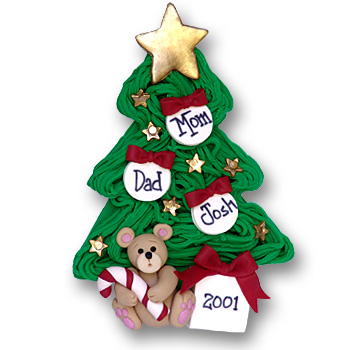 Christmas Tree w/3 Ornaments<br>Personalized Family Ornament
