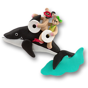 Whale w/2 Bears<br>Personalized Family Ornament