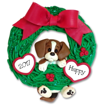 Beagle<br>Hanging in Wreath<br>Personalized Dog Ornament - Limited Edition