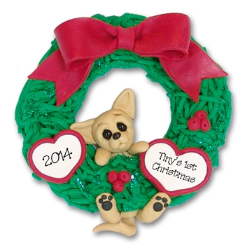 Chihuahua<br>Hanging in Wreath<br>Personalized Dog Ornament
