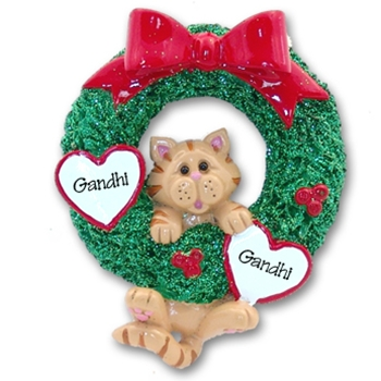 Orange Tabby<br>Hanging in Wreath<br>Personalized Cat Ornament