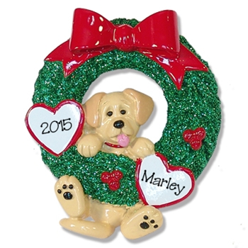 1 Yellow Lab<br>Hanging in Wreath<br>Personalized Dog Ornament