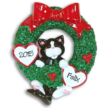 Black & White Tuxedo Kitty<br>Hanging in Wreath<br>Personalized Cat Ornament