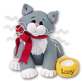 &quot;Lucy&quot; Grey & White Kitty<br>Cat Ornament