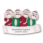 Covid-19 / Corona Virus / Pandemic Family of 4 Ornament Personalized HANDMADE POLYMER CLAY Ornament - ON SALE!