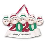 Covid-19 / Corona Virus / Pandemic Family of 5 Ornament Personalized HANDMADE POLYMER CLAY Ornament - ON SALE!