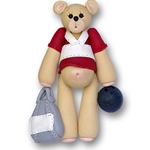 Personalized Bowling Ornament Bowler Belly Bear Personalized Ornament-ON SALE!