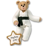 Karate Belly Bear Personalized Christmas Ornaments