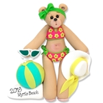 Belly Bear Sunbather at the Beach Personalized Christmas Ornament