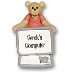 Computer Belly Bear<br>Personalized Ornament