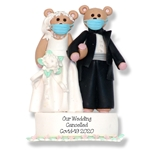 Covid-19 Bride & Groom Pandemic / Cornavirus Handmade Polymer Clay Personalized WEDDING Cancelled Ornament with Face Masks  - ON SALE!