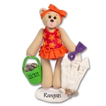 Belly Bear Girl at the Beach Personalized Ornament - Custom Ornaments