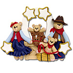 Belly Bear Cowboy<br>Family of 4<br>Personalized Ornament