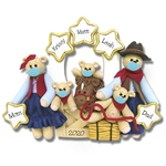 Covid-19 Cowboy Family of 5 with Face Masks Personalized  Pandemic Coronavirus Ornament