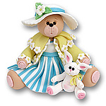 Belly Bear Girl w/Rabbit Easter Figurine