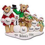 Belly Bear w/Snowman<br>Family of  5<br>Personalized Ornament