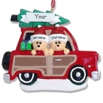 Belly Bear Family of 2 in Woody Wagon RESIN Personalized Couples Ornament
