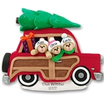 Belly Bear Family of 3<br>in Woody Wagon<br>Personalized Family Ornament