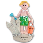 RESIN<br>Boy at Beach<br>Personalized Ornament