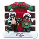 +Black Bear Couple at Log Cabin Ornament