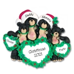 Black Bear Family of 4 with Christmas Hearts Personalized Family Ornament - Custom Ornament