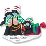 Covid-19 Black Bear Family of 3 w/Sled & Face Masks Pandemic Personalized Ornament POLYMER CLAY