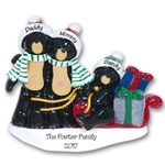 Black Bear Family of 3 w/Sled Personalized Family Ornament - RESIN