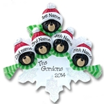 Black Bear Family of 5<br>on Snowflake<br>Personalized Ornament