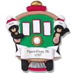 Black Bear Couple in Streetcar Personalized Family Ornament - Custom Ornament