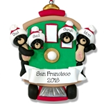 Black Bear Family of 4 in Streetcar Personalized Family Ornament - Custom Ornament