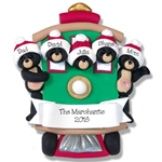 Black Bear Family of 5 in Streetcar Personalized Family Ornament - Custom Ornament