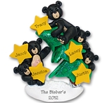 Black Bear Family of 5<br>w/Christmas Tree